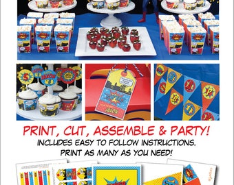 Superhero Birthday Decorations, Superhero Party Decorations, Printable PDF Files