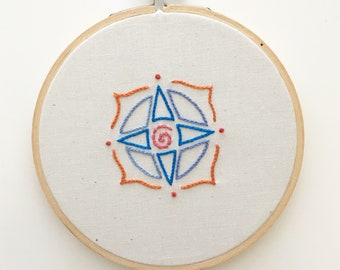 SALE - Compass Rose Embroidery Hoop