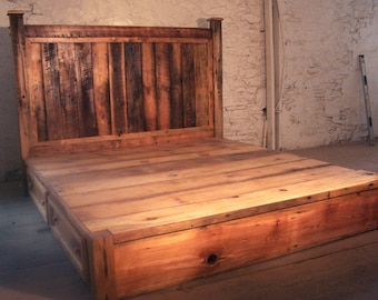 Reclaimed Rustic Pine Platform Bed with Headboard and 4 Drawers