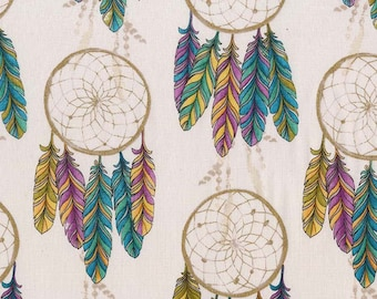 Moon Dream Catchers w/Metallic # CM7737-MOON Cotton Fabric 1/2 Yard Free Shipping Michael Miller Catching Dreams Collection
