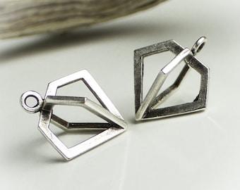 25%OFF Cage Diamond Charm Antique Silver Tone Bohemian Boho 3D large Open pendant Design European Charms Quality Greek Casting TH265 1pc