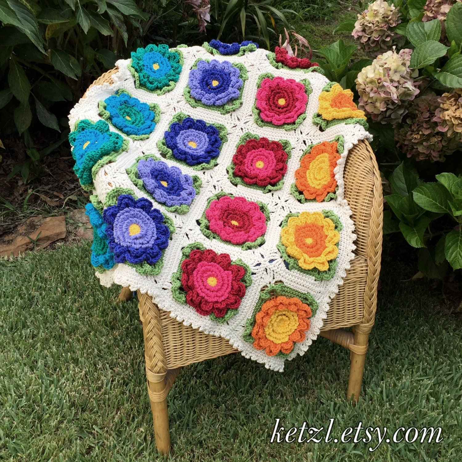 Crochet Pattern Baby Blanket Afghan Pattern with Big Bright Happy ...