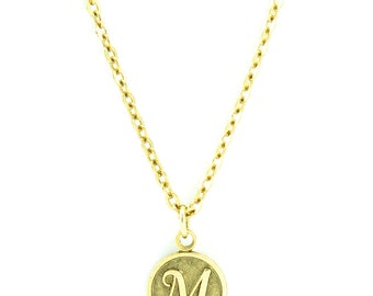Letter M Necklace | Gold Letter M Necklace | Gold Initial M Necklace | Gold Letter M Pendant Necklace