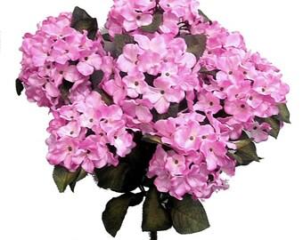 "21"" Pink Hydrangea Bouquet 7 Blooms Long Stem Bush Blush Artificial Silk Wedding Flowers Bridal Centerpiece DIY Decorations Arrangements"