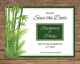 Bamboo Palm Save The Date PLM-01-STD-Digital Download