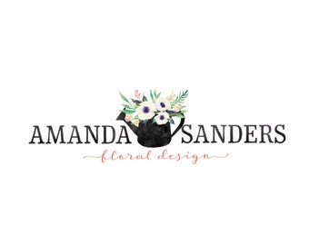 Floral logo premade logo small business logo flowers logo watercolor logo