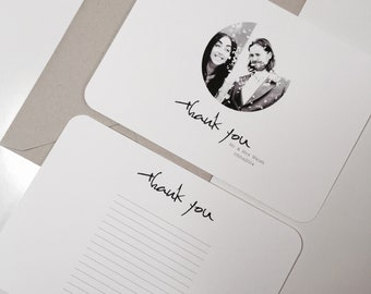 Photograph Wedding Thank You Cards Photo Personalised Minimal 20 30