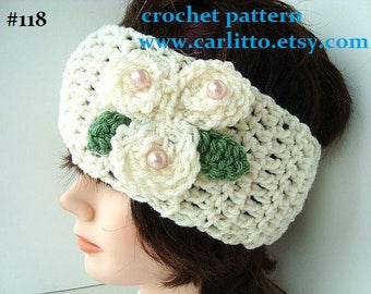 CROCHET headband PATTERN, Headband crochet pattern, flowers, leaf, women, children, baby, accessories, clothing, num 118, instant download