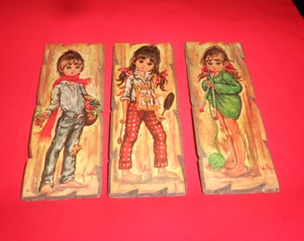 Sad Eyed Hippie Kids Original Italian Made Set Of 3 Wood Mounted 1960s Iconic Lithographs