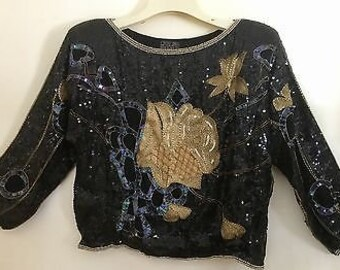 Vintage Black Sequined And Beaded Sweater With Shoulder Pads