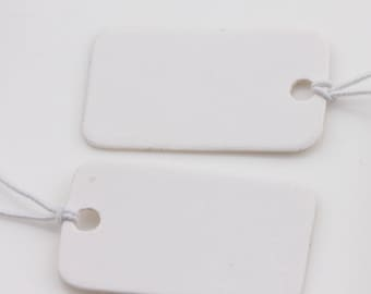 10 white kraft blank rounded rectangle tags