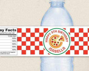 Pizza Party / Pizza Birthday Party - 100% waterproof personalized water bottle labels