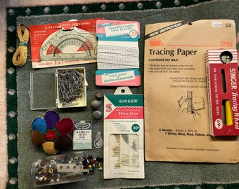 Vintage Sewing Pincushion Tracing Paper Wheel Lace Elastic Pins Needles Thimbles Tape Measure Eyelets