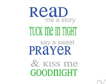 Read Me A Story, Kiss Me Goodnight   Instant Download File   Svg / Jpg