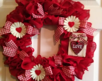 Clearance Sale-Sweetheart Wreath, Burlap Wreath,Country Chic, Love Wreath, Front Door Wreath, ruffle wreath