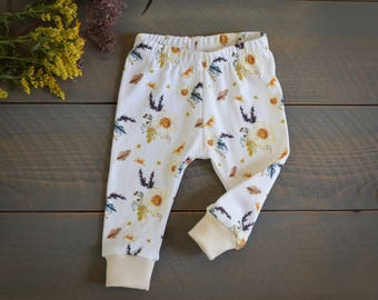 baby leggings ivory floral, fall baby clothes, infant organic pants, girl baby pants floral, ivory beige pants, floral leggings