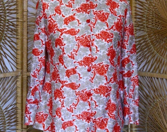 Vintage 60s style patterned top // Size 10