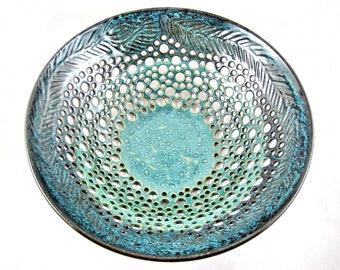 Pottery fruit bowl , Ceramic fruit bowl , modern home decor in Sea foam blue, teal blue ceramic art piece - In stock 20FB I
