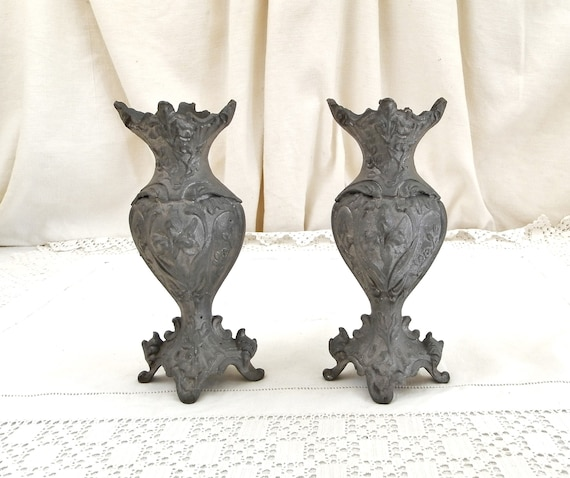 Pair Antique French Cast Metal Grey Ornate Vase, 2 Matching Decorated with Floral Pattern Vases from France, Boudoir Brocante Decor