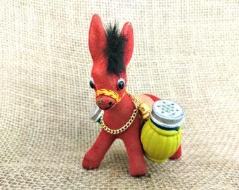 Vintage Red Flocked Donkey Salt and Pepper Shaker