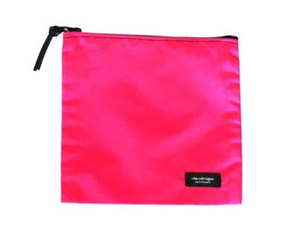 Nylon Pouch 8x8 inch hot pink nylon zipper  use for travel, snacks, cosmetics, a tool bag, photo-video gear, and more!