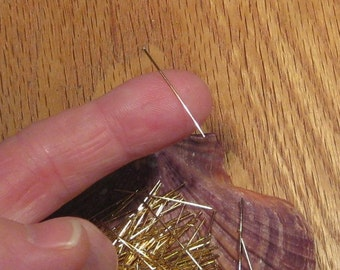 "1"" 24 Gauge Gold Plated Head Pins, Sold in Sets of 144, Thin and Bendable, Shiny Gold Beading Pins"