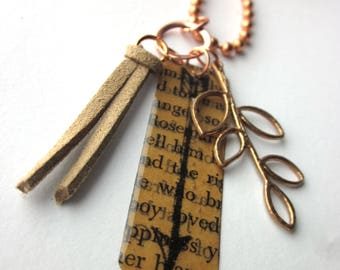 Book Page Arrow Charm Necklace, Book Jewelery, Books Gift, Book Lover Literary Jewelry