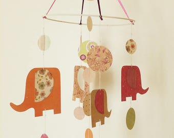 elephant family mobile and rounds, patterned paper * to order