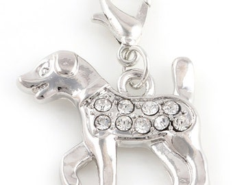 Rhinestone Dog Charm - Clip-On - Ready to Wear