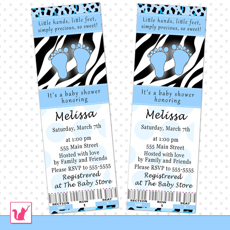 Baby Shower Ticket Invitation Blue Baby Feet Zebra Leopard
