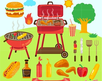 Barbecue Digital Clip Art / BBQ Party Digital Clipart Design Illustration / Backyard, Grill, Summer Picnic, Barbeque / Instant Download