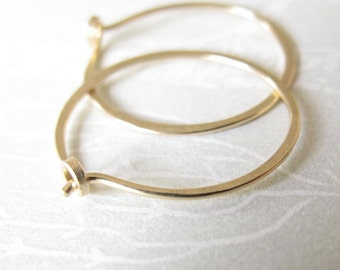 14k solid gold hammered hoops endless hoop earrings rustic organic round shape