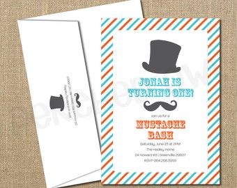 Mustache Bash Birthday Invitation - Digital File