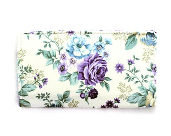 Checkbook Cover | Fabric Checkbook Cover | Checkbook Case | Purple Roses | Wallets | Checks | Organizer | Floral | Gifts under 10 |