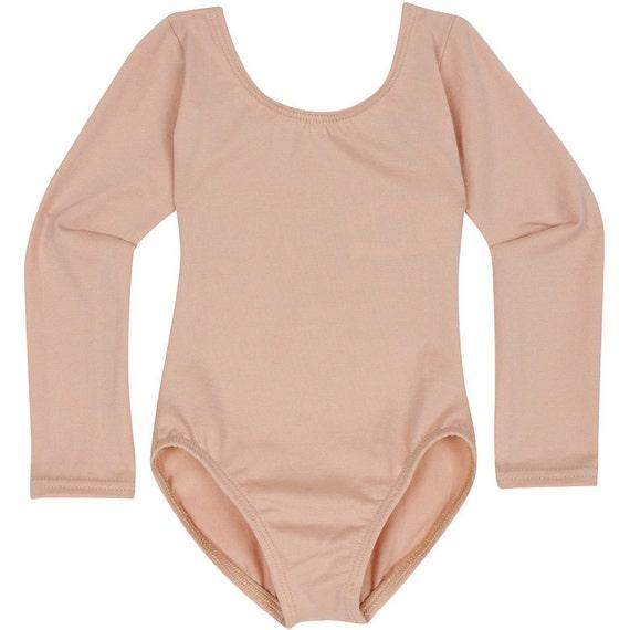 Nude Skintone Beige Long Sleeve Leotard For Toddler  Girls-4255