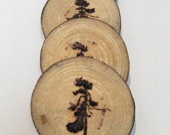 Wood burned, wood slice coasters
