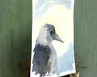 magpie / original watercolor / one of a kind painting