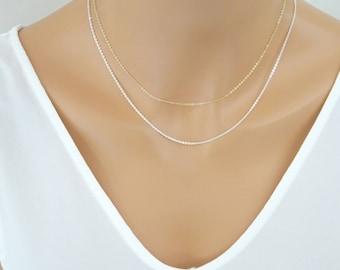 Plain Chain Necklace, Fine Sterling silver chain, Replacement chain, gold chain necklace, thin gold chain, layered necklace