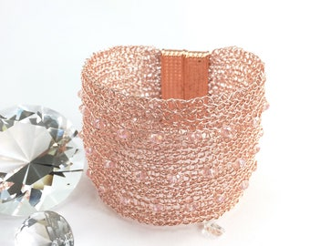 wire crochet cuff bracelet, rosé gold with sparkling crystals