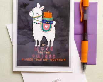 funny llama love greeting card -punny love card - happy llama card - love card - Love humor - Kids cards - love you card