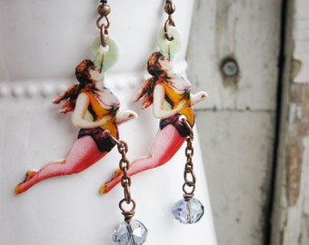 Circus Earrings Acrobat Ladies Purple Fashion Vintage Inspired Trapeze Quirky Fun Retro Inspired Jewelry for Her