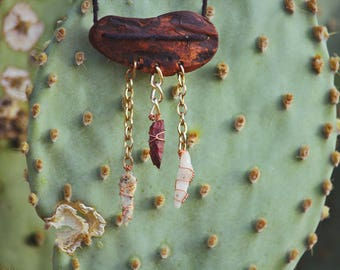 Driftwood pendant w/ chainlinked stones