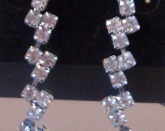 Vintage 1960's - 1970's Retro Pierced Rhinestone Earrings