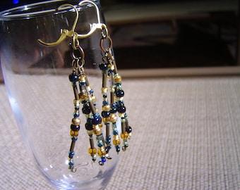 Blues and Golds Seed Bead Tassel Boho Style Earrings