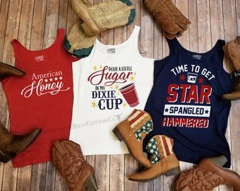 Pour A Little Sugar in my Dixie Cup - Red White and Blue Trio Tank Tops