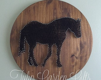 The Cody™ Horse String Art Wall Hanging Round, Equine Art, Horse Art, Horse Decor, Horse Silhouette, Horse Stringart, Charity, Horse Charity