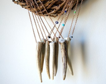 Antler Necklace with vintage chain - choose gemstone at checkout
