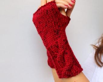 Knit Fingerless Gloves Red Black Melange Wrist Warmer Hand Warmer Sister Gift Gloves Fingerless