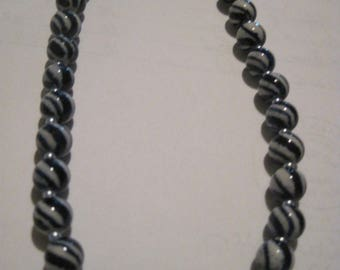 Beautiful Blue & White Swirl Ceramic Bead Choker/ Necklace....hand made OOAK...1458h