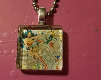 Wonder woman glass tile necklace